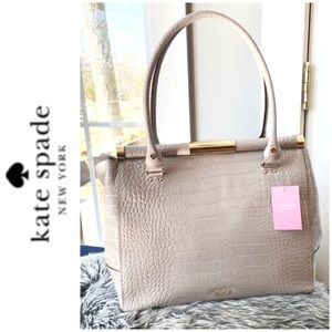 NWT Kate Spade croc leather satchel gray